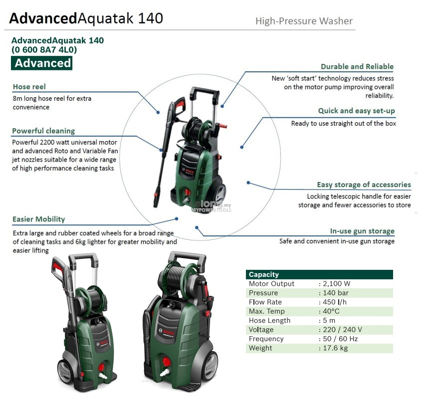 Bosch Advanced Aquatak 140Bar Heavy Duty Pressure Washer