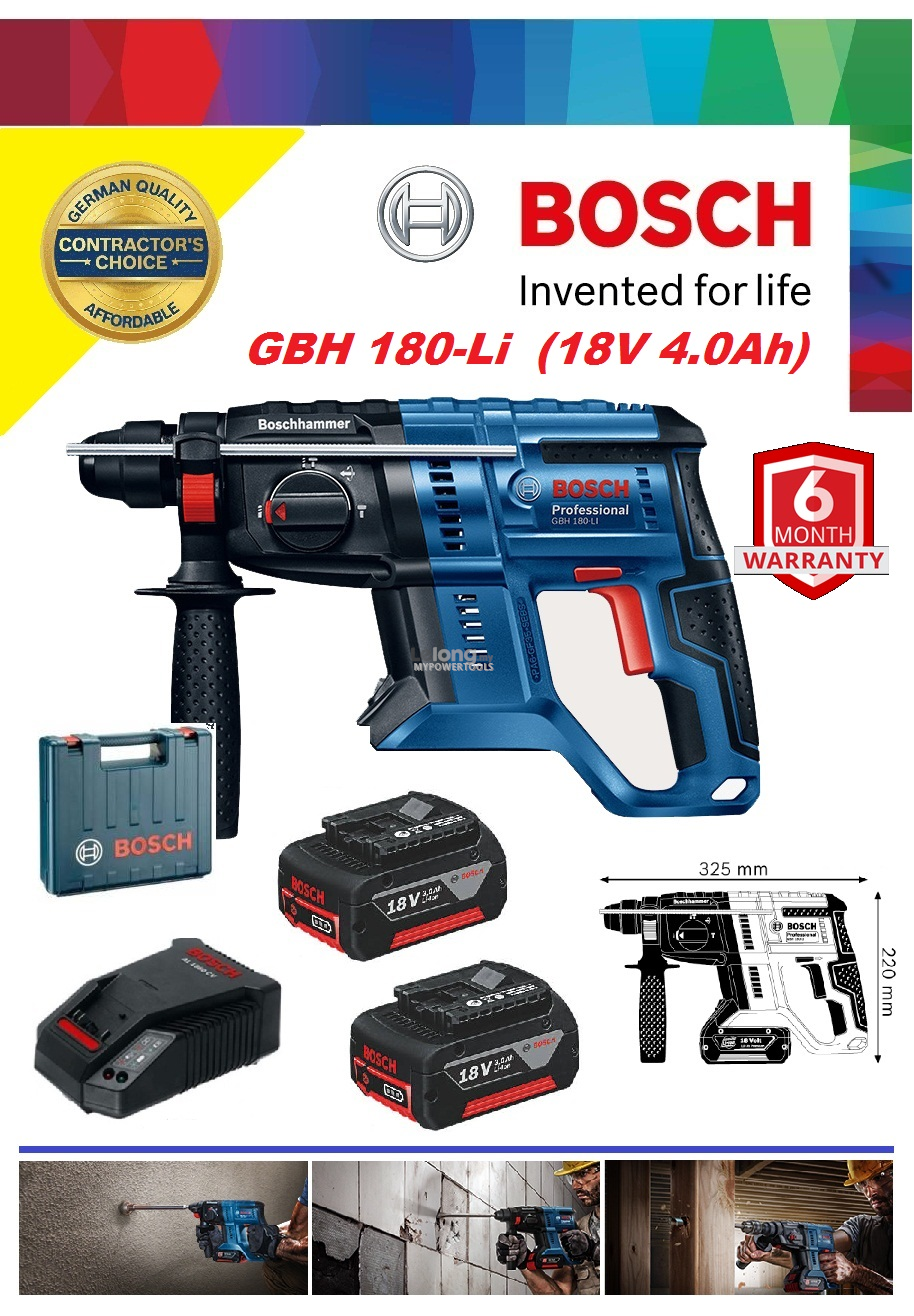 Bosch GBH 180-Li EC-Brushless Cordless Rotary Hammer with SDS-Plus