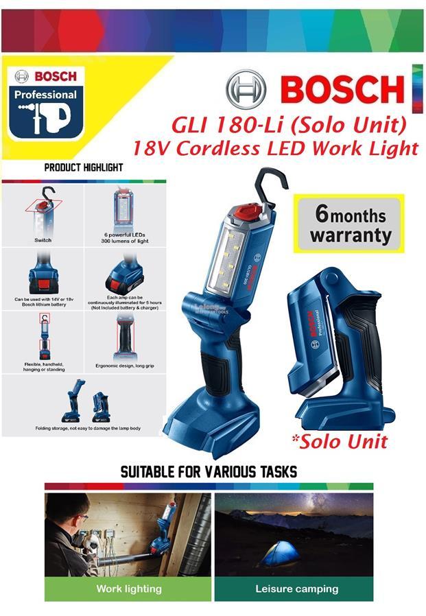 Gli Cordless Led Light Bosch Work 8nnwm0v Torchsolo Li 180 QxrCthdBs
