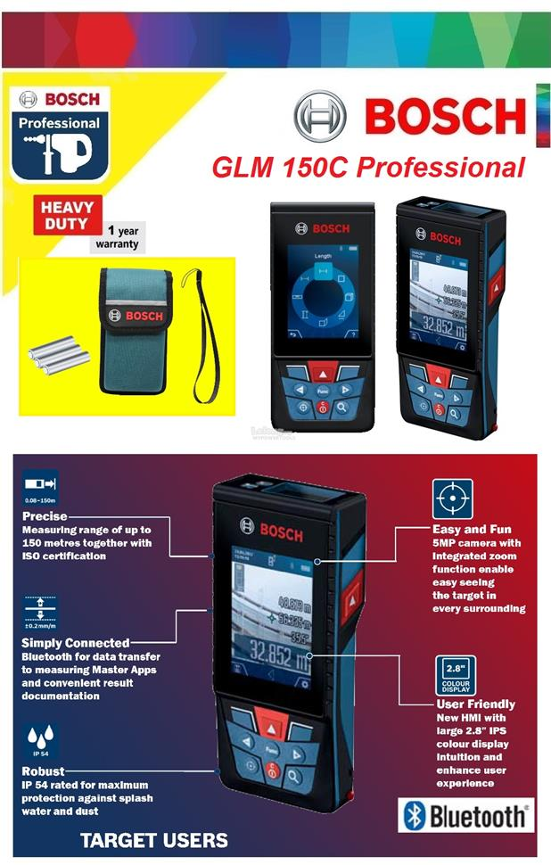 Bosch GLM 150C Bluetooth Laser Distance Measure