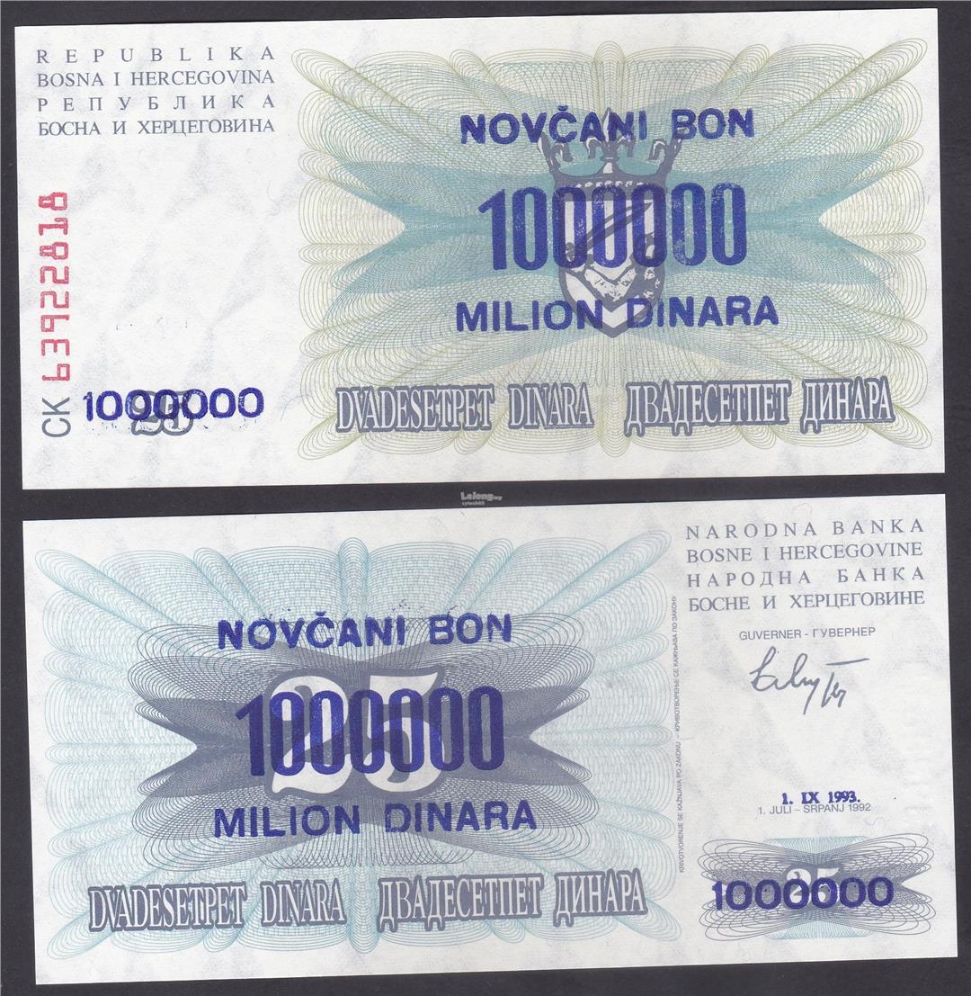 P-35a 1993 UNC Bosnia /& Herzegovina 1000000 1,000,000 on 25  Dinara