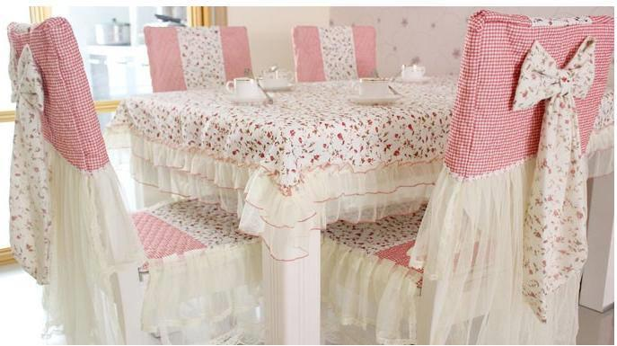 Bow Design Full Dinning Table Cloth Set For 4 Person