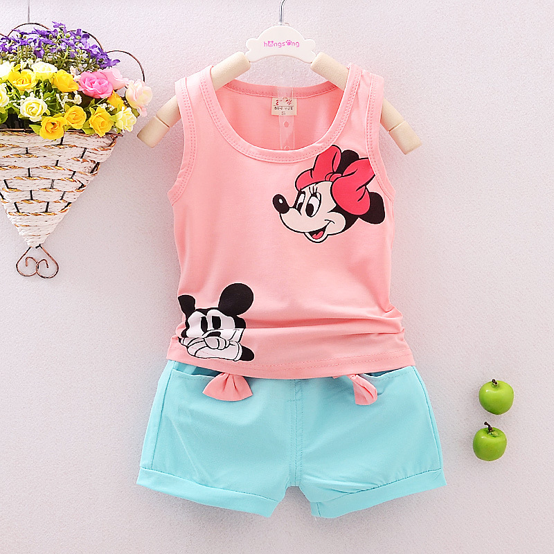 65f789885a119 Boy Girl Short Sleevesless T-Shirt + Pants Sets MINNIE MOUSE