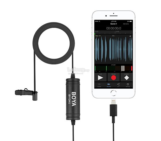 Boya BY-DM1 Digital Lavalier Microphone Clip Mic for iPhone iOS Device