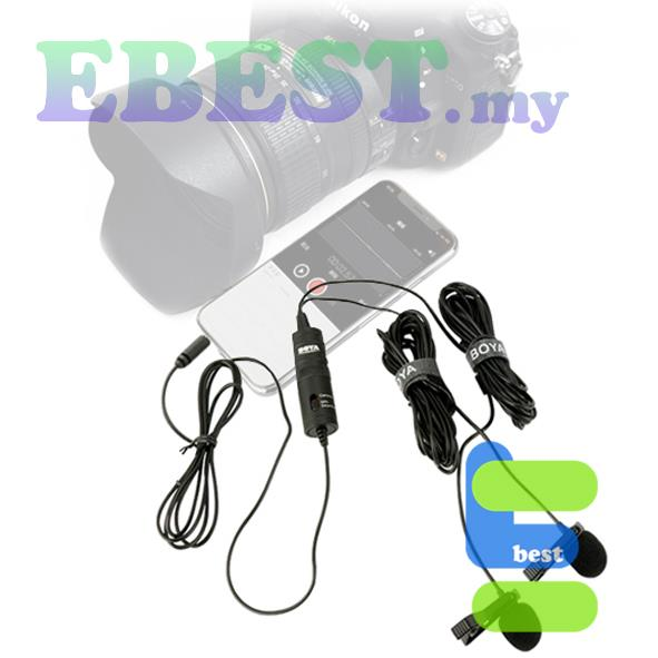 Boya BY-M1DM Dual Clip-on Omni-directional Lavalier Microphone
