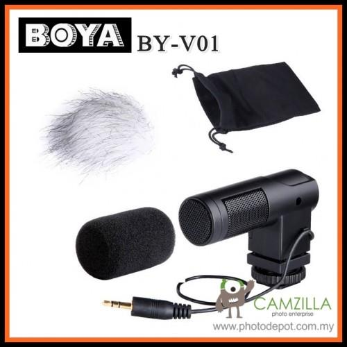 Boya BY-V01 Compact DSLR Camera Stereo Video Mic Microphone