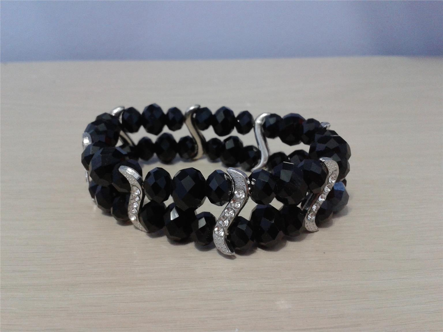 BRACELET WITH RHINESTONE BLACK COLOUR