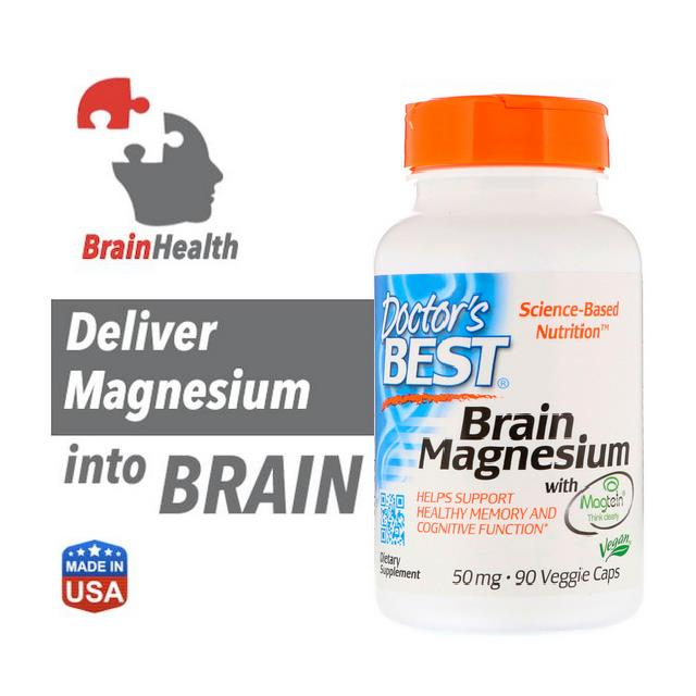 Brain Magnesium with Magtein, 90 Veggie Caps (Brain Health)