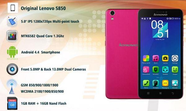 "BRAND NEW LENOVO S850 16GB 5.0"" HD Gorilla (Pink)"