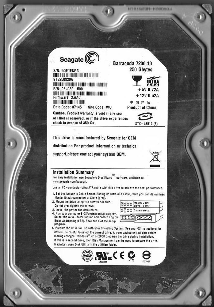 BRAND NEW Seagate 250GB IDE 3.5' 7.2rpm Hard Drive ST3250820A Desktop