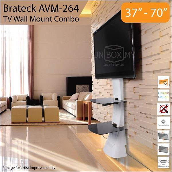 Brateck AVM-264 37-70 inch Tilt Swivel TV Wall Mount Combo White