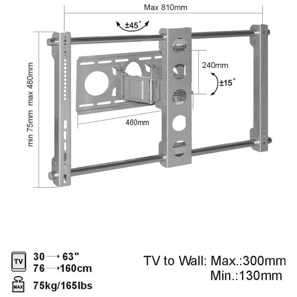 "Brateck Cantilever Flat Panel TV Wall Mount Upto 30"" - 63"" - PLB-WA6"