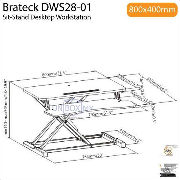 Brateck DWS28-01 Sit-Stand Desktop Workstation Desk Converter Stand