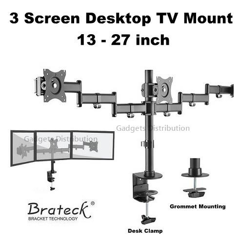 BRATECK LDT07-C036 13 to 27 Inch Triple Screen Monitor TV Mount 2585.1