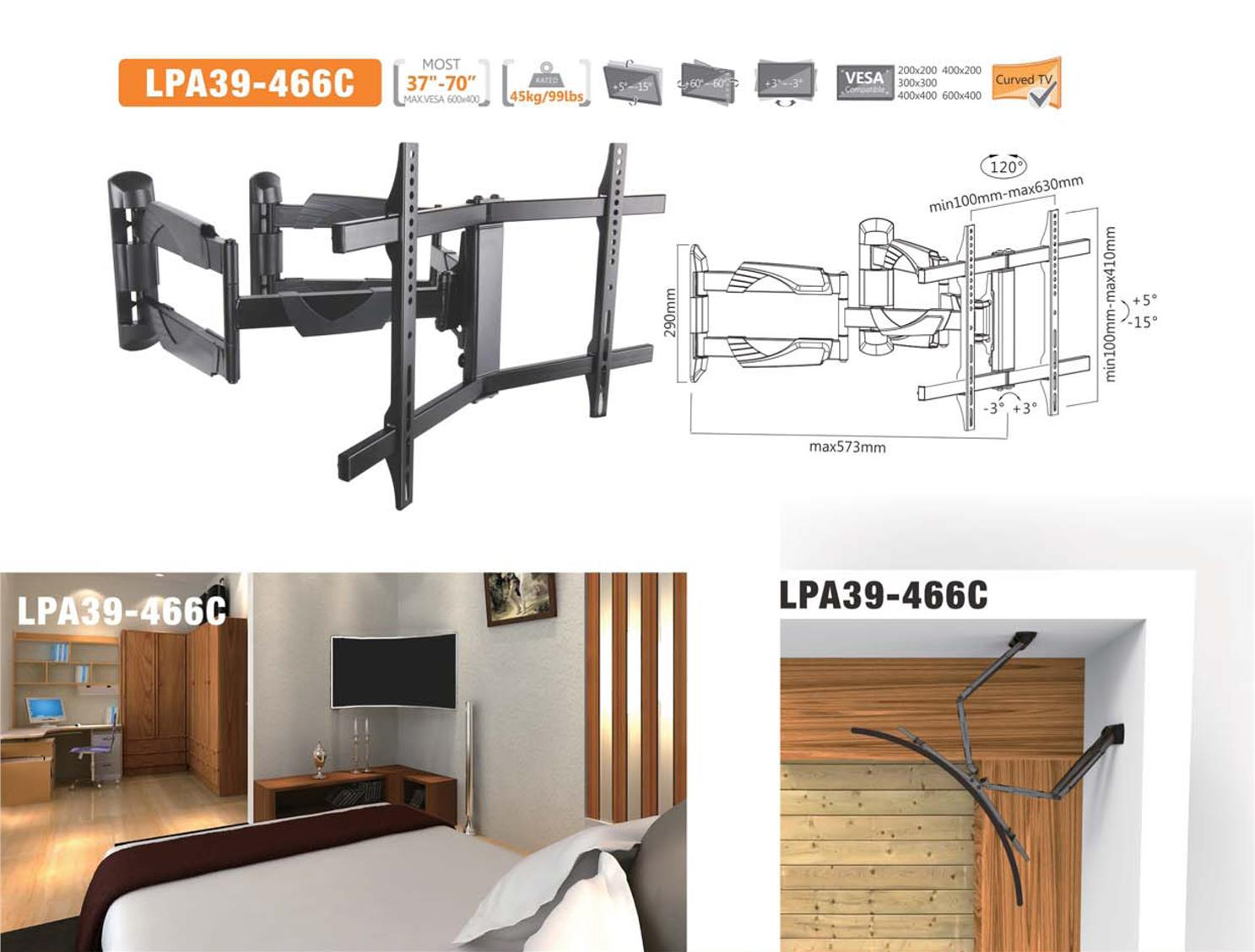 "Brateck LPA39-466C Full-motion Curved & Flat TV Wall Mount - 37""-70"""