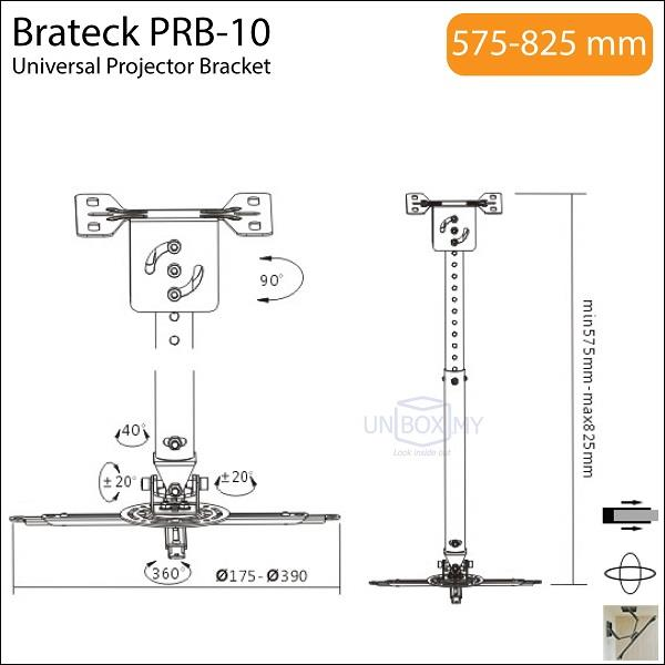 Brateck PRB-10 Universal Heavy Duty Projector Bracket Mount