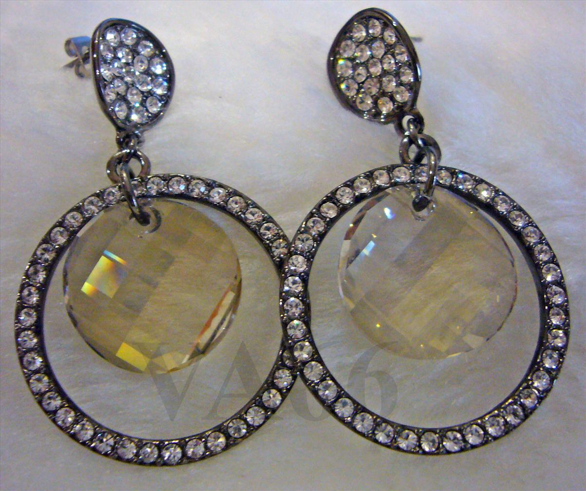 Bridal Grey Black Diamond Swarovski Crystal Stud Earrings 18k Rhodium