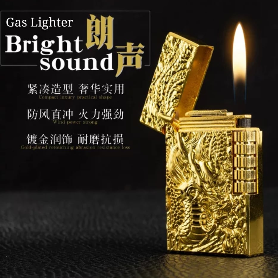 Bright Sound Soft Flame Gas Lighter Dragon Design