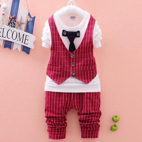 BRITISH STYLE ROUND NECK LONG SLEEVE COTTON BABY BOYS FAUX TWINSET (WI