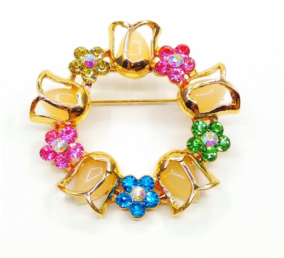 Brooch Pin Round Type Flower Bouquet (Multi Colour) - Kerongsang