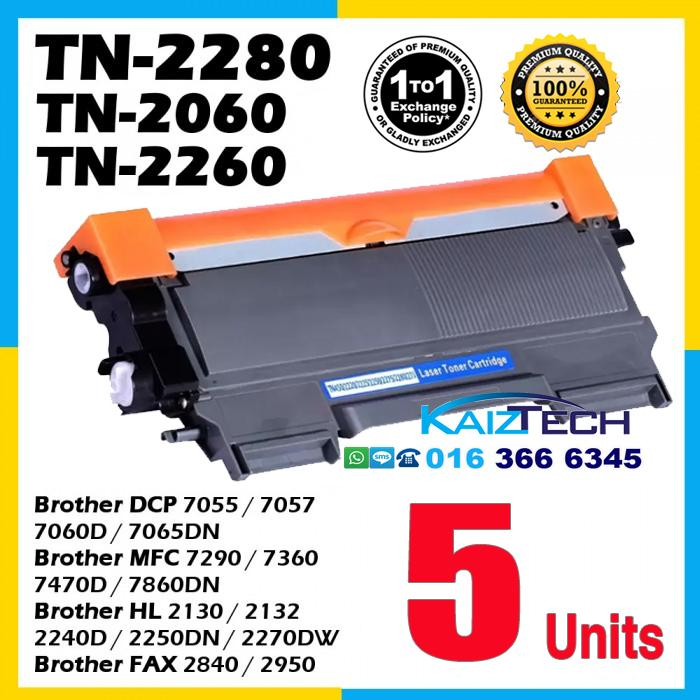 Brother 5 Units TN-2060 / TN-2260 / TN-2280 Compatible Toner For Brother DCP 7