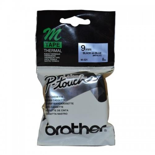 Brother Black on Metallic Blue 9mm Tape (M-521)