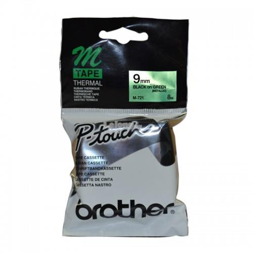 Brother Black on Metallic Green 9mm Tape (M-721)