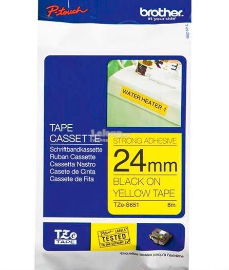 Brother Black on Yellow 24mm Strong Adhesive Tapes (TZe-S651)