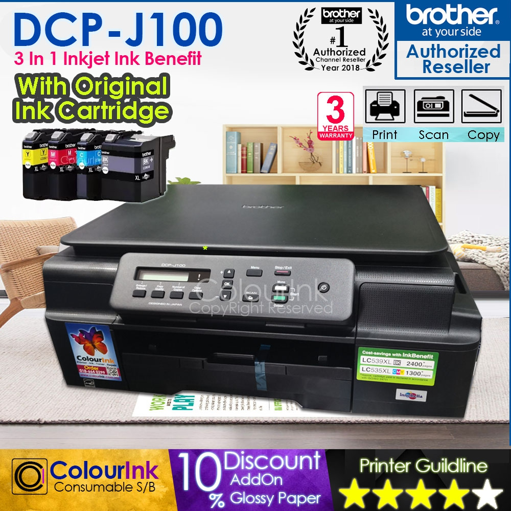 Brother DCP-J100 InkBenefit Printer Print Scan Copy C/W Original LC539XL LC535