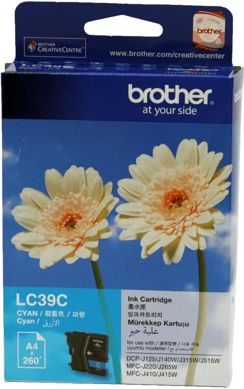 BROTHER LC-39 C CYAN INK CARTRIDGE