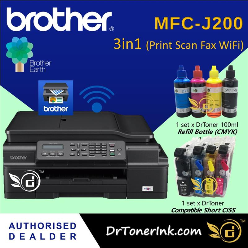 Brother MFC-J200 4in1 Wireless Print Scan Copy Fax