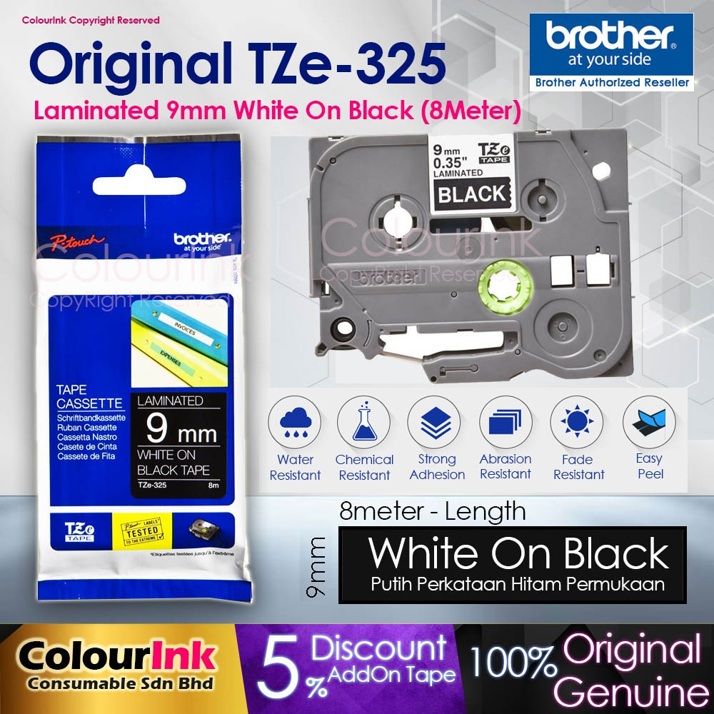 Brother Original TZe-325 9mm White on Black Laminated Tape (PT-H110 D200KT D21