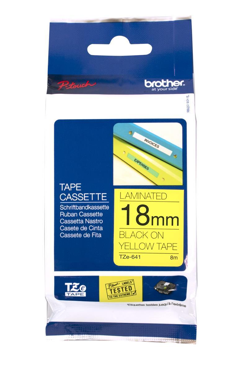 Brother Tze-641 18mm Black on Yellow Tape - Tze641