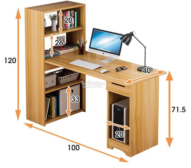 BROWN Office Laptop Wooden Desk Study Table Meja Book Home House