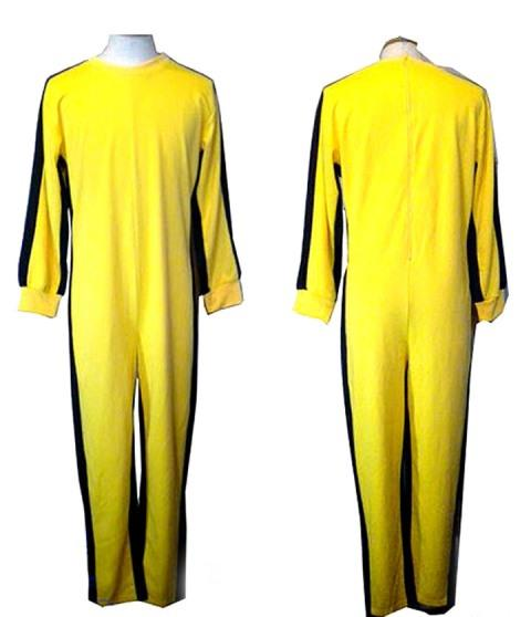 Bruce lee Uniform Wushu Clothes Costume Cosplay Woman Yellow Jumpsuit