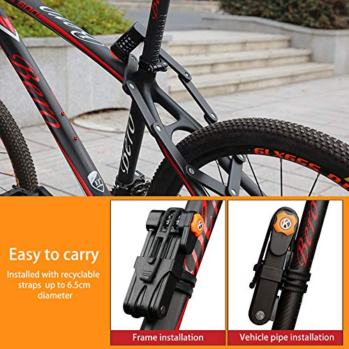 BRZYEAI Anti-Theft Folding Bike Lock with 4 Password, Heavy Duty Bicycle Lock