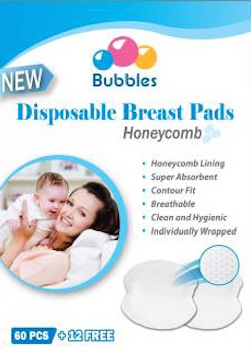 Bubbles Disposable Breast Pad (60+12pcs) Honeycomb x 3