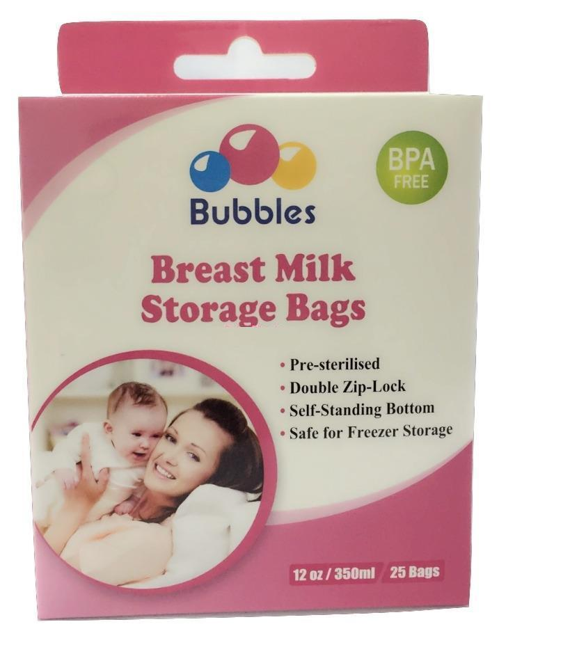 Bubbles Double Zip-Lock Breast Milk Storage Bags 12oz-25 bags
