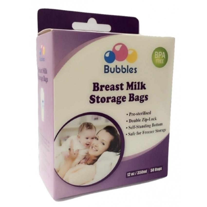Bubbles Double Zip-Lock Breast Milk Storage Bags 12oz -50 Bags