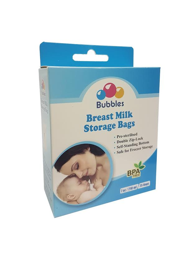 Bubbles Double Ziplock Breastmilk Bags 7oz (25pcs)
