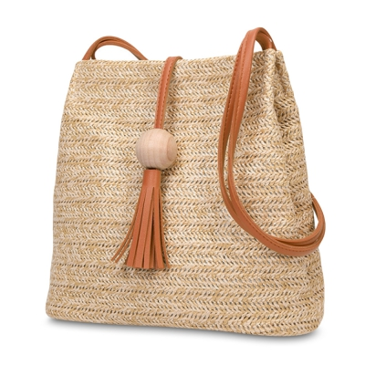 Bucket Shoulder Straw Weave Tassel Crossbody Women Tote Bag