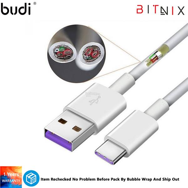 Budi 2.0 USB-A To USB TYPE-C 5A Super Charge Charge/Sync Cable (1 Year