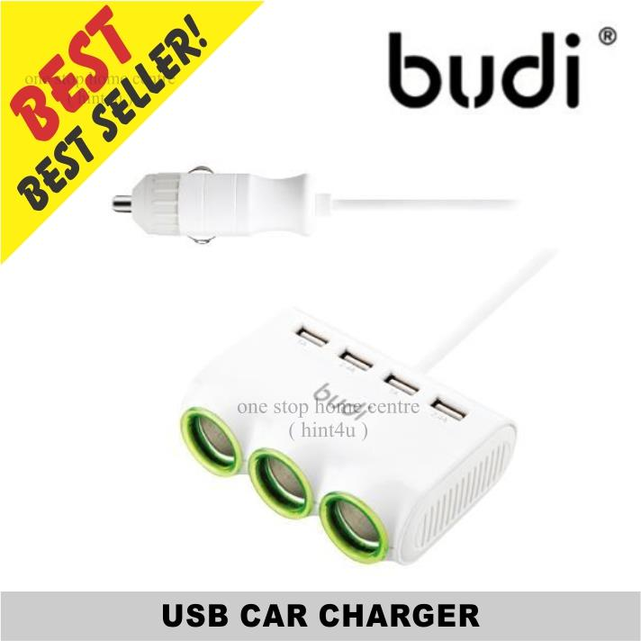 Budi M8J650 USB Car Charger with 3 Extra Car Charging Ports