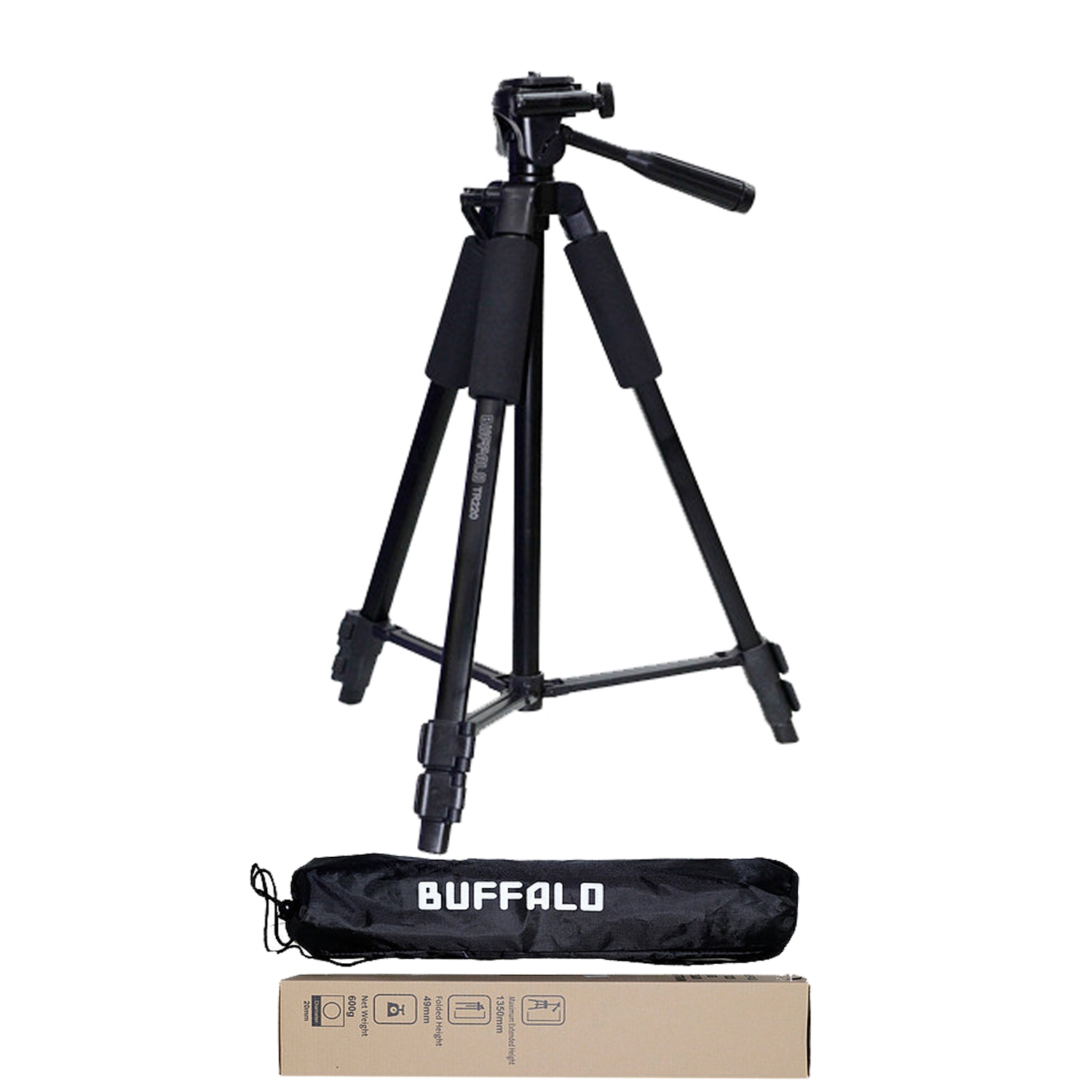 Buffalo TR-220 Camera Tripod 3-way head, 3 section closed channel leg