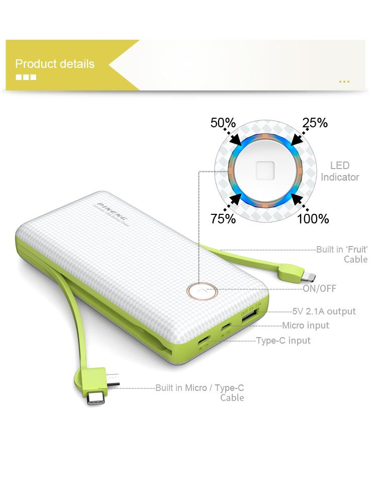 (Built-In 2 Cable) Authentic PINENG PN959 20000mAh Power Bank Charger