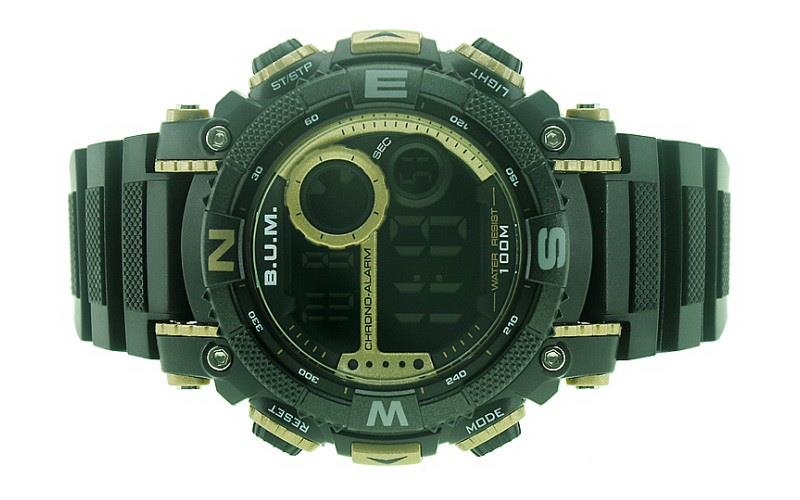 BUM Men Digital 100M Water Resistant Sport Watch BUBM01503A