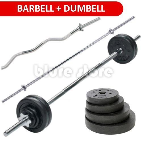 Per Barbell Dumbbell Weight Lifting Bar Gym Set 20 To 50kg