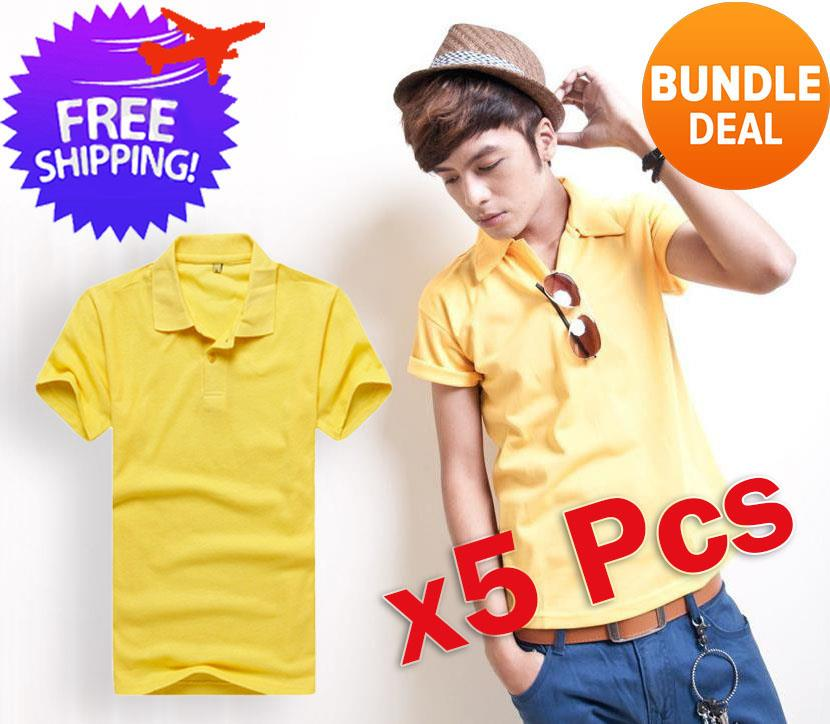 [Bundle Deal] 5 Pc Men Short Sleeve Casual Polo T-Shirt