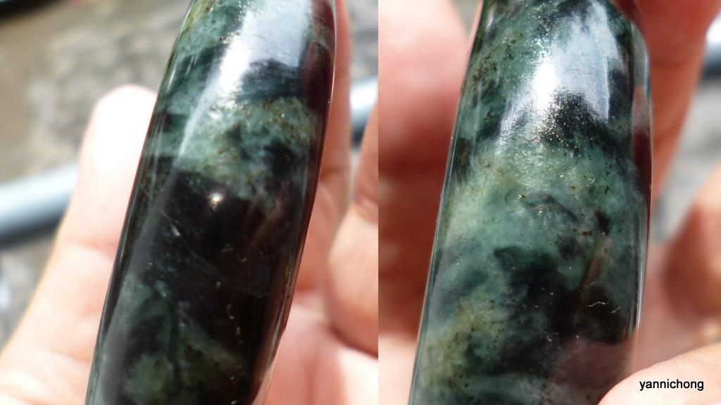 OLD MINE BURMESE  deep GREEN  NEPHRITE JADE  BANGLE