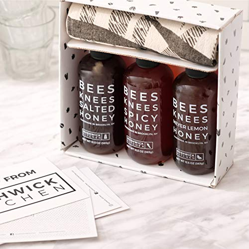 Bushwick Kitchen Bees Knees Honey Sampler Gift Box, Set Includes Spicy Honey,